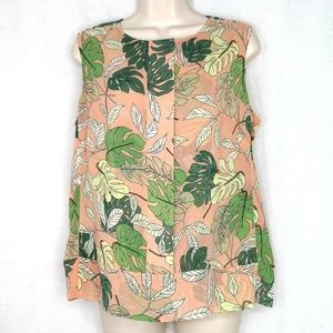 Cabi Top Blouse Monstera Leaf Sheer Women Size S